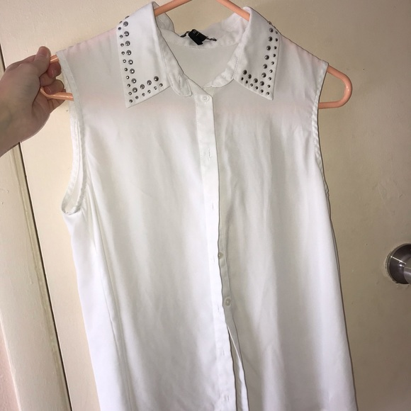 Forever 21 Tops - White see through tank top with collar detail